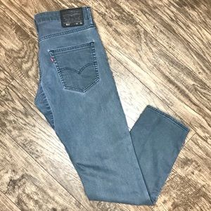 Levis 511 Jeans Grey Skinny Stretch Fit Button Fly